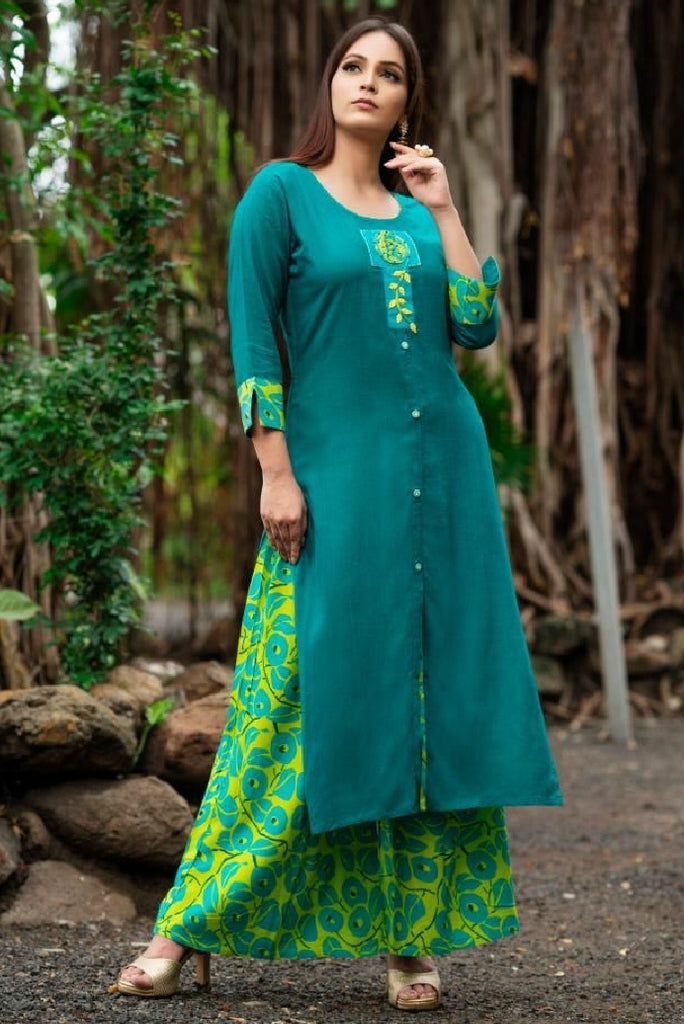 Embroidered Reyon Cotton Kurti With Pallazo - R00320