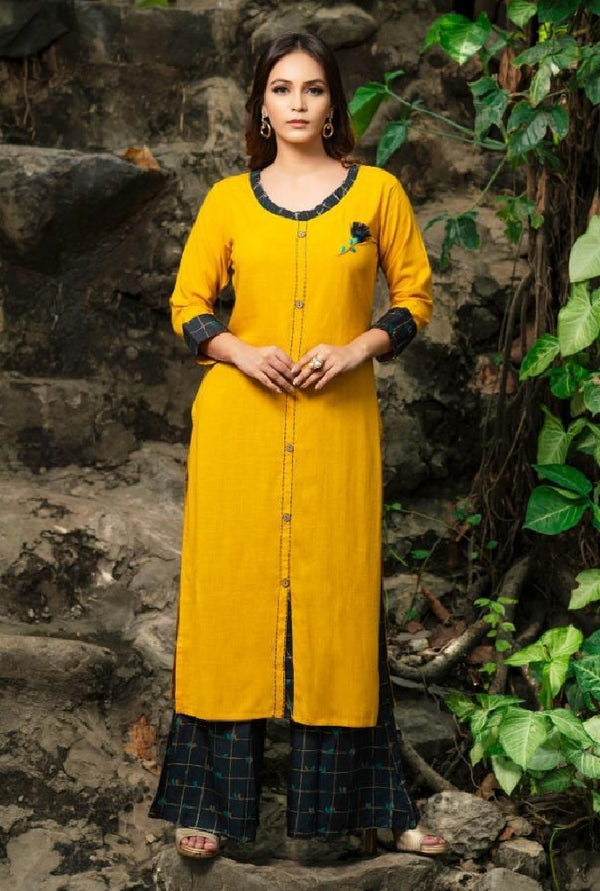 Reyon Cotton Kurti With Pallazo - R00321