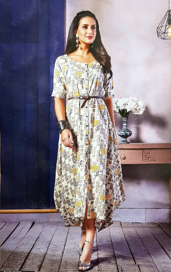 Designer Cotton Dress With Belt - R00326
