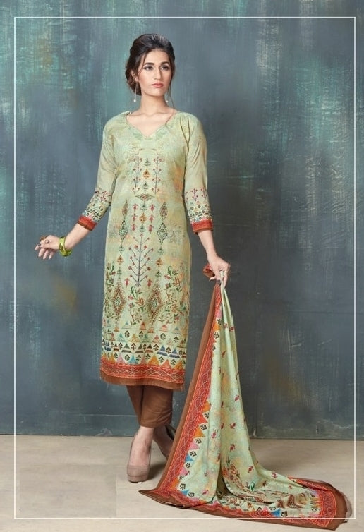Embroidered Digital Printed Un-Stitch Suit - S00078