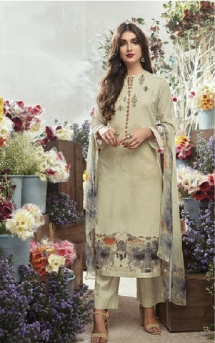 Embroidered Cotton Un-Stitch Suit - S00084