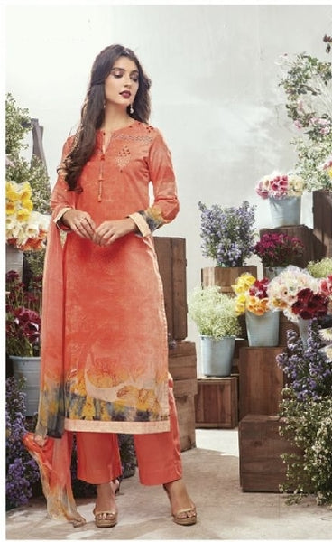 Embroidered Cotton Un-Stitch Suit - S00085