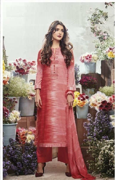 Embroidered Cotton Un-Stitch Suit - S00086
