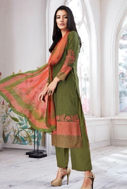 Embroidered Cotton Un-Stitch Suit - S00087