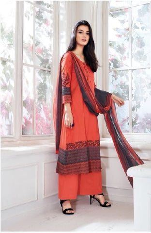 Embroidered Cotton Un-Stitch Suit - S00088