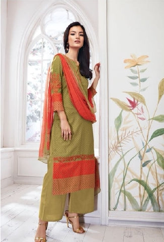 Embroidered Cotton Un-Stitch Suit - S00090