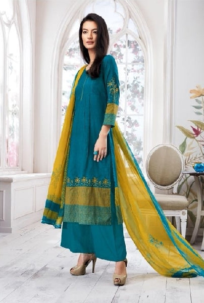 Embroidered Cotton Un-Stitch Suit - S00091