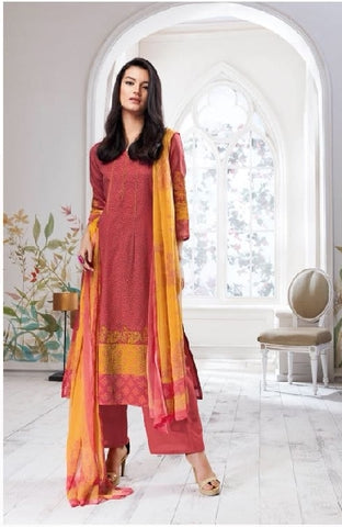 Embroidered Cotton Un-Stitch Suit - S00092