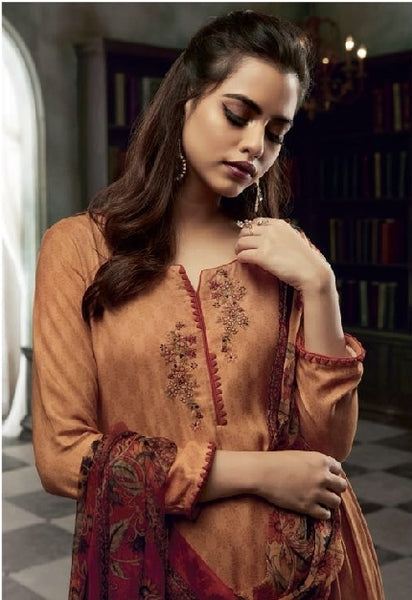 Cotton Embroidered Un-Stitch Suit - S00097