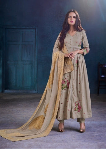 Cotton Embroidered Un-Stitch Suit - S00102