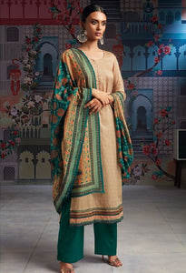 Formal Glaze Cotton Un-Stitch Suit With Embroidered Border - S00112