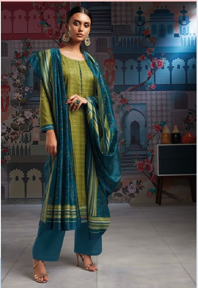 Formal Glaze Cotton Un-Stitch Suit With Embroidered Border - S00115