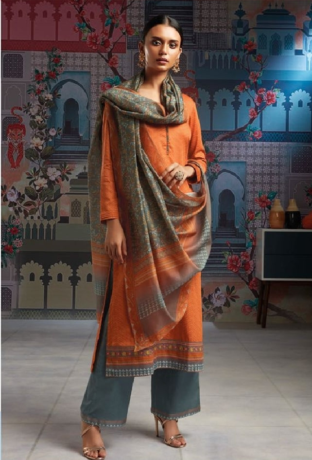 Formal Glaze Cotton Un-Stitch Suit With Embroidered Border - S00116