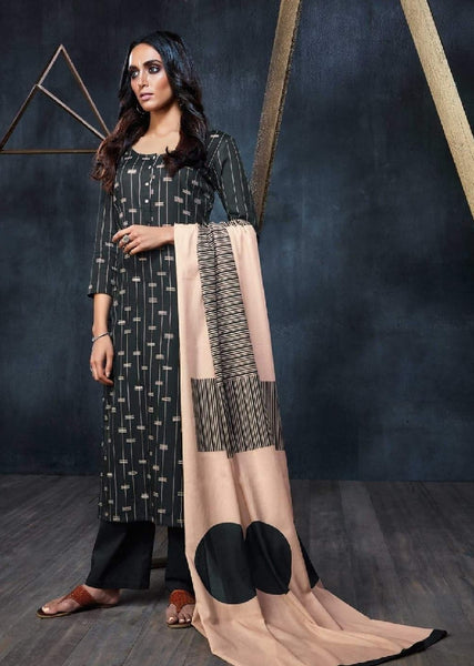 Geometric Printed Formal Glaze Cotton Un-Stitch Suit - S00117