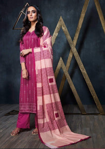 Geometric Printed Formal Glaze Cotton Un-Stitch Suit - S00119