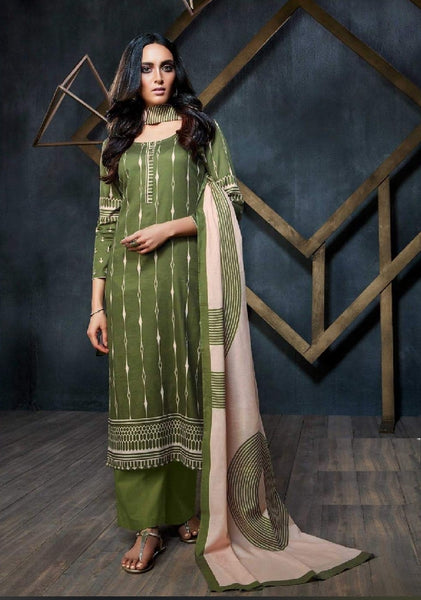 Geometric Printed Formal Glaze Cotton Un-Stitch Suit - S00120