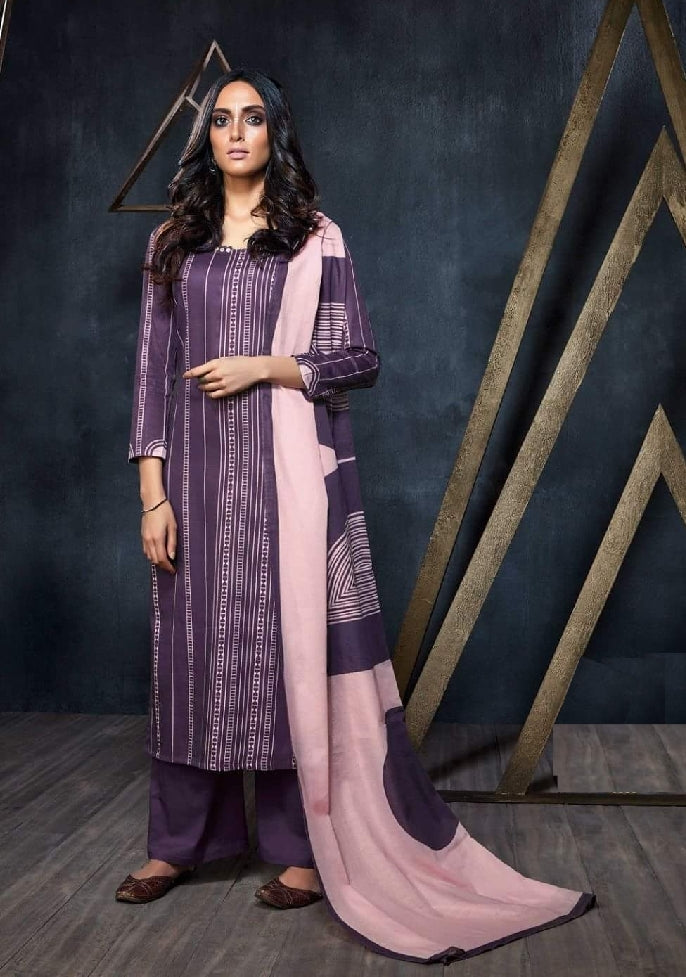 Geometric Printed Formal Glaze Cotton Un-Stitch Suit - S00121