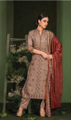 Embroidered Gotta Work Silk Un-Stitch Suit - S00124