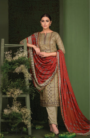 Embroidered Gotta Work Silk Un-Stitch Suit - S00125