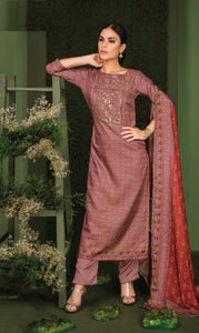 Embroidered Gotta Work Silk Un-Stitch Suit - S00126