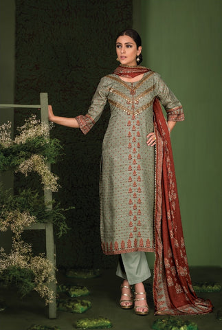 Embroidered Gotta Work Silk Un-Stitch Suit - S00127