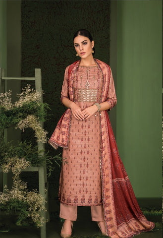 Embroidered Gotta Work Silk Un-Stitch Suit - S00128