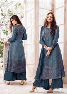 Russian Silk Crepe Digital Printed Un-Stitch Suit With Light Handwork  - S00129