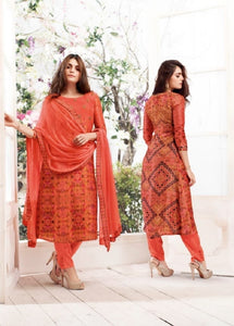 Russian Silk Crepe Digital Printed Un-Stitch Suit With Light Handwork  - S00130