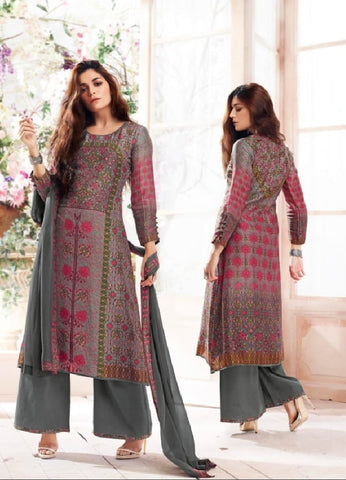 Russian Silk Crepe Digital Printed Un-Stitch Suit With Light Handwork  - S00131