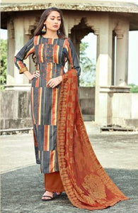 Embroidered Pashmina Un - Stitch Woollen Suit - S00188