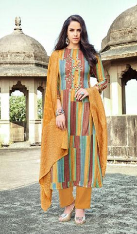 Embroidered Pashmina Un - Stitch Woollen Suit - S00189