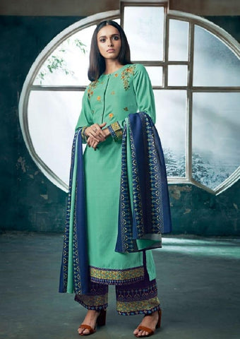 Embroidered Pashmina Un-Stitch Suit - S00195