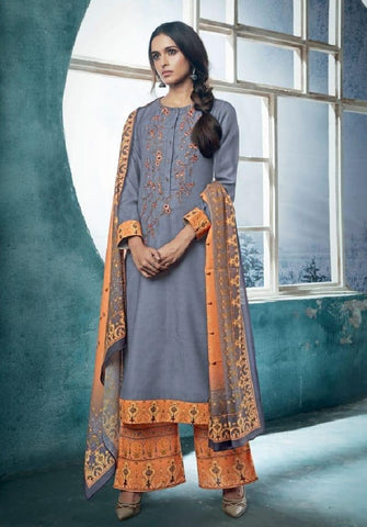 Embroidered Pashmina Un-Stitch Suit - S00197