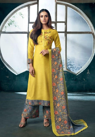 Embroidered Pashmina Un-Stitch Suit - S00198