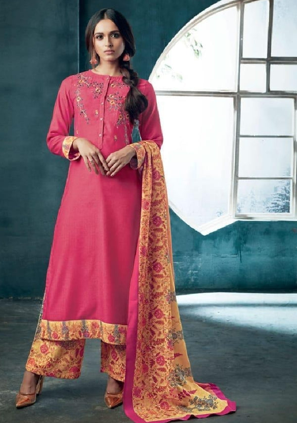 Embroidered Pashmina Un-Stitch Suit - S00204