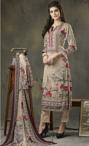 Woollen Printed Un-Stitch Suit - S00207