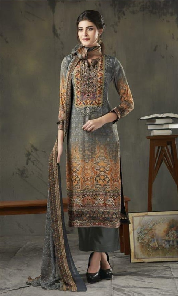 Woollen Printed Un-Stitch Suit - S00208