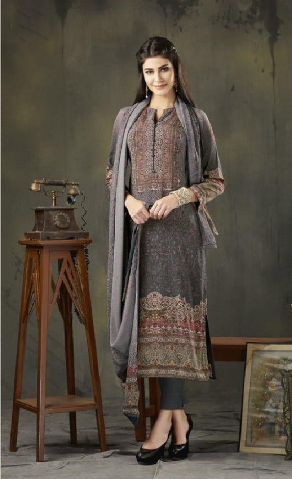 Woollen Printed Un-Stitch Suit - S00209