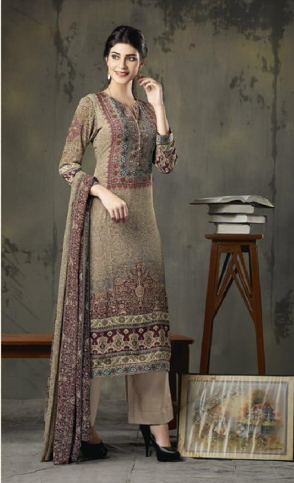 Woollen Printed Un-Stitch Suit - S00211