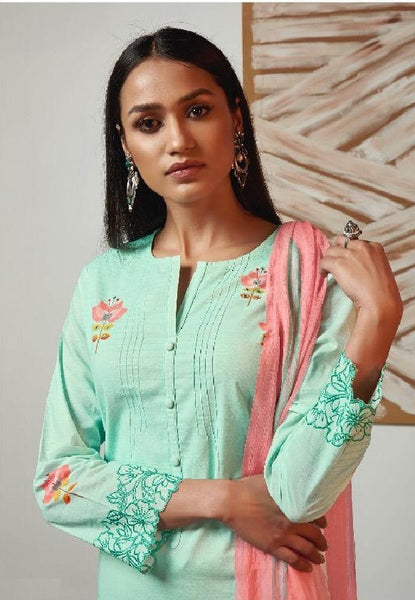 Digital Printed Cotton Un-Stitch Suit With Embroidered Sleeves - S00213
