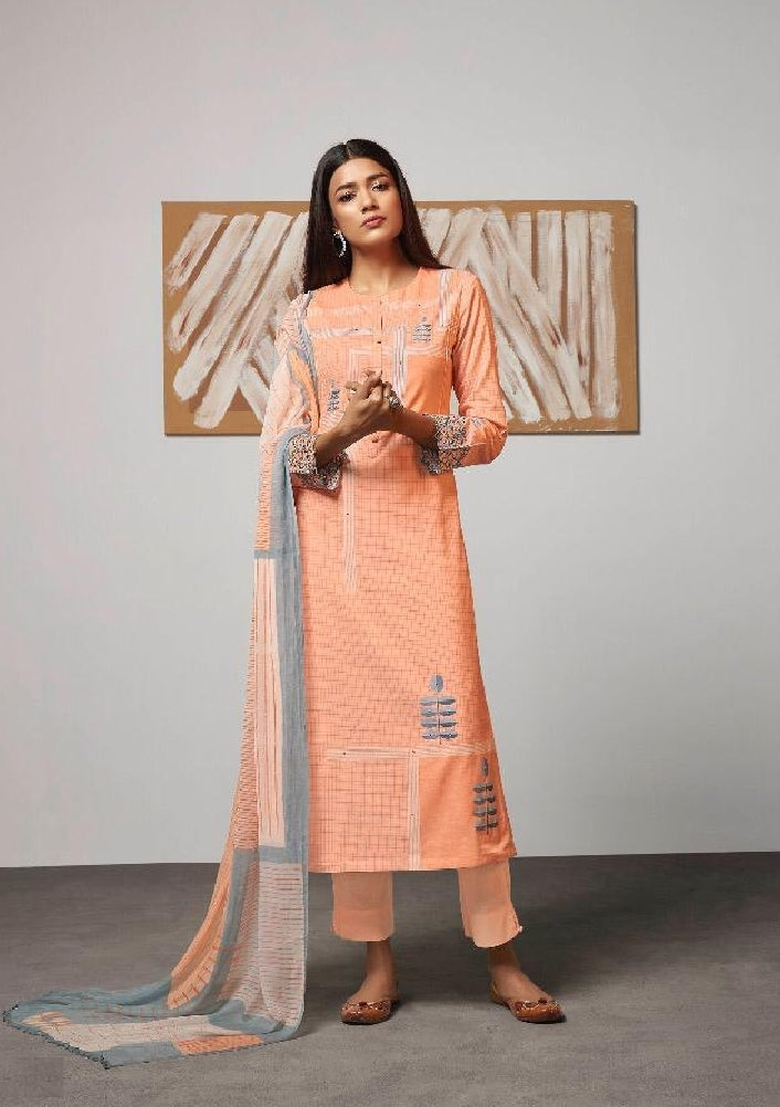 Digital Printed Cotton Un-Stitch Suit With Embroidered Sleeves - S00215