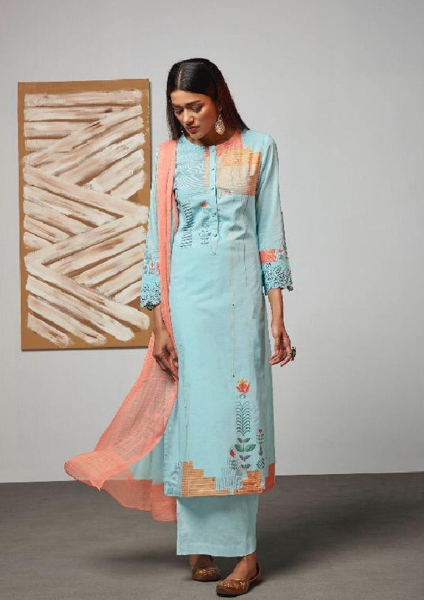 Digital Printed Cotton Un-Stitch Suit With Embroidered Sleeves - S00216