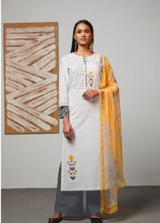 Digital Printed Cotton Un-Stitch Suit With Embroidered Sleeves - S00217
