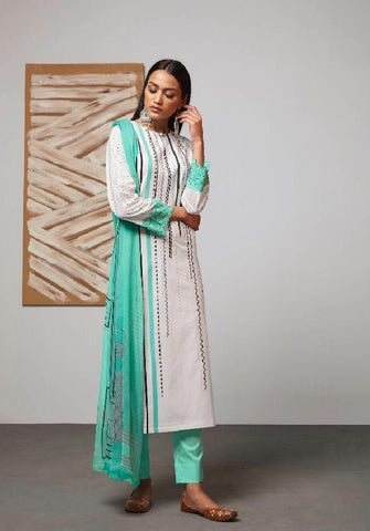Digital Printed Cotton Un-Stitch Suit With Embroidered Sleeves - S00219