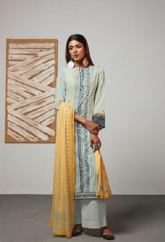 Digital Printed Cotton Un-Stitch Suit With Embroidered Sleeves - S00220
