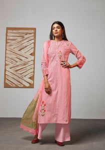 Digital Printed Cotton Un-Stitch Suit With Embroidered Sleeves - S00221