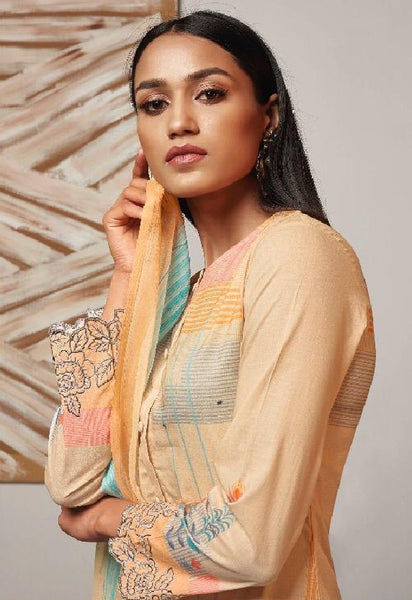 Digital Printed Cotton Un-Stitch Suit With Embroidered Sleeves - S00222