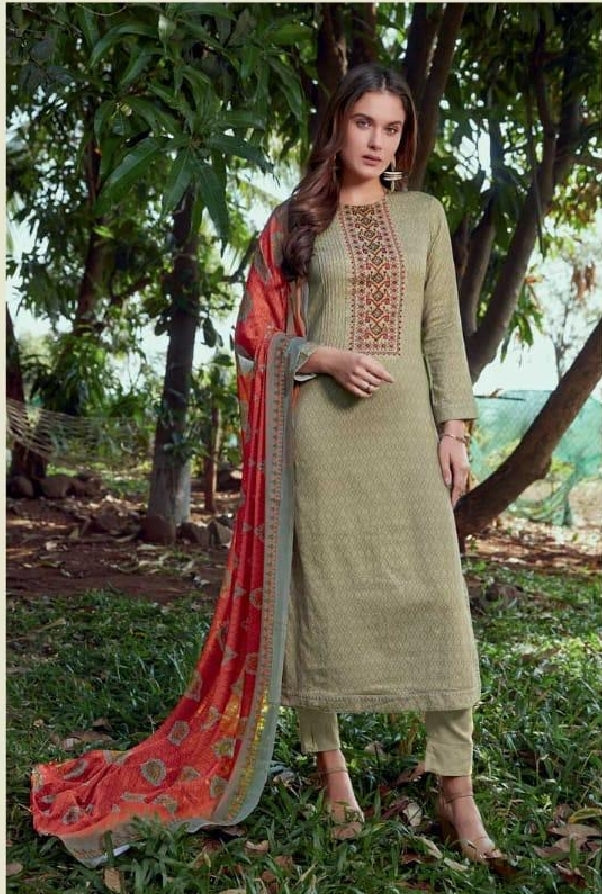 Embroidered Cotton Un-Stitch Suit - S00223