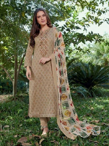 Embroidered Cotton Un-Stitch Suit - S00224