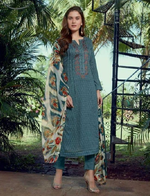 Embroidered Cotton Un-Stitch Suit - S00226